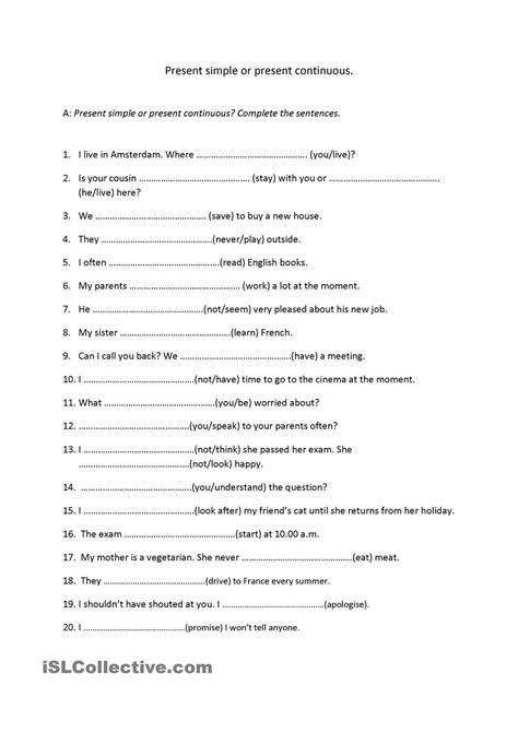preguntas present simple exercises 15 best images of simple present continuous worksheet