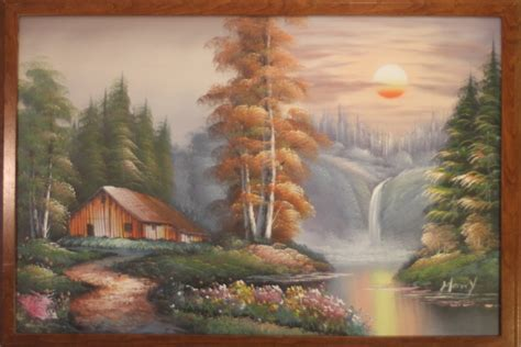 bob ross painting cabin bob ross style landscape painting of cabin in the woods