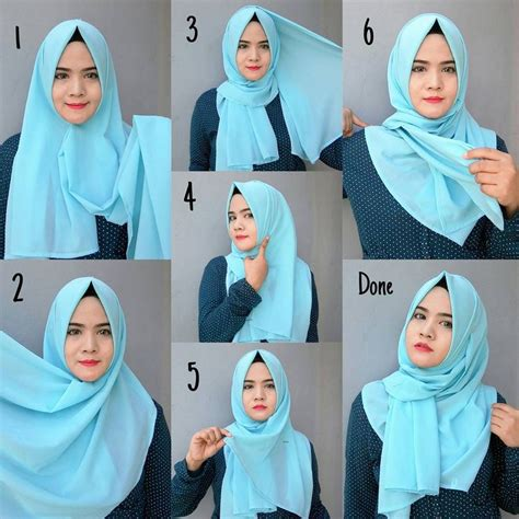 blue easy simple hijab tutorial tutorial hijab modern