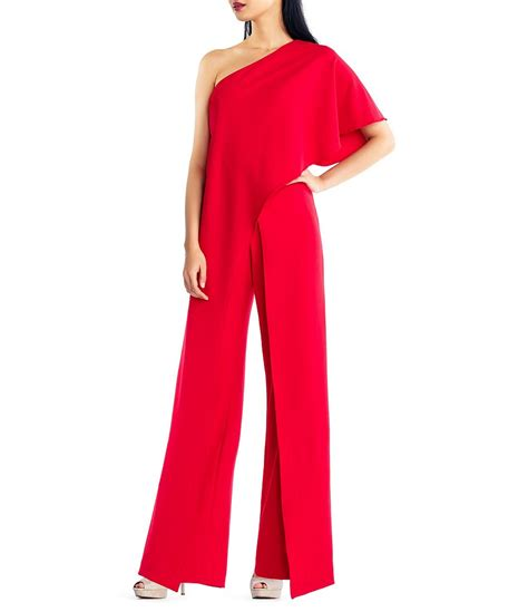 One Jumpsuit by Papell Crepe One Shoulder Jumpsuit Dillards
