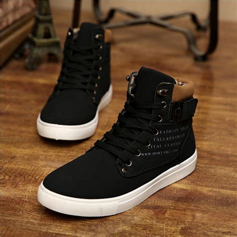 mens leather high top sneakers 1pair fashion mens casual shoes leather high top shoes