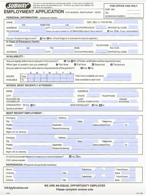 online printable job application for subway subway job application related keywords suggestions