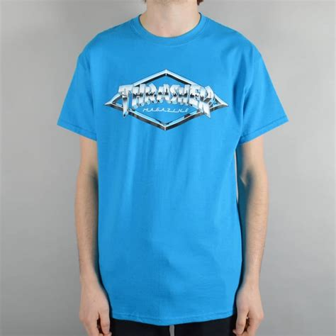 Thrasher Blue Tshirt thrasher emblem skate t shirt sapphire skate