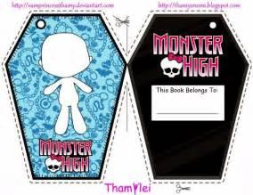 printable monster high bookmarks monster high book plate or bookmark printables pinterest