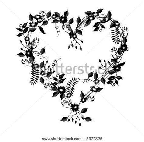 heart vine tattoo designs flower shaped illustration with