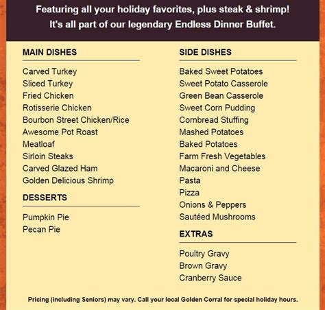 Golden Corral Thanksgiving Menu 2015 Dinner Hours Golden Corral Prices For Buffet