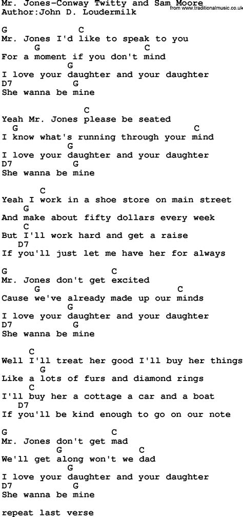 lyrics mr country mr jones conway twitty and sam lyrics