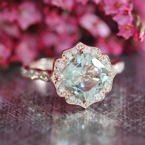 light green gemstone ring rose gold green amethyst engagement ring in vintage