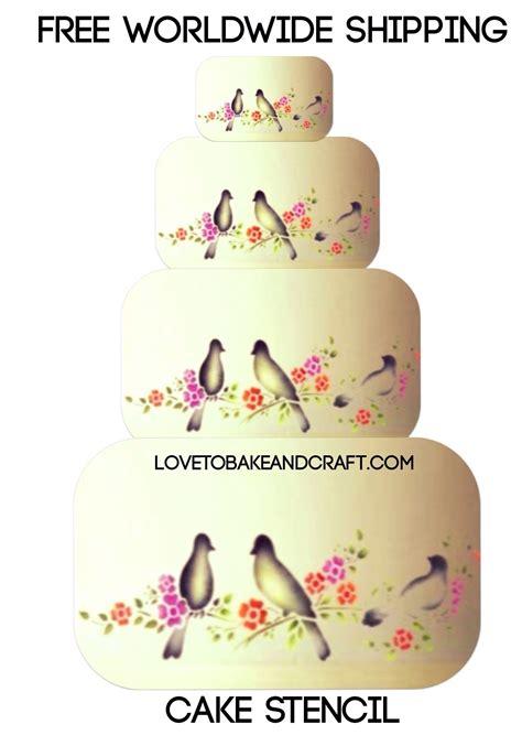 bird cake stencil 5 piece set cake stencil wedding cake