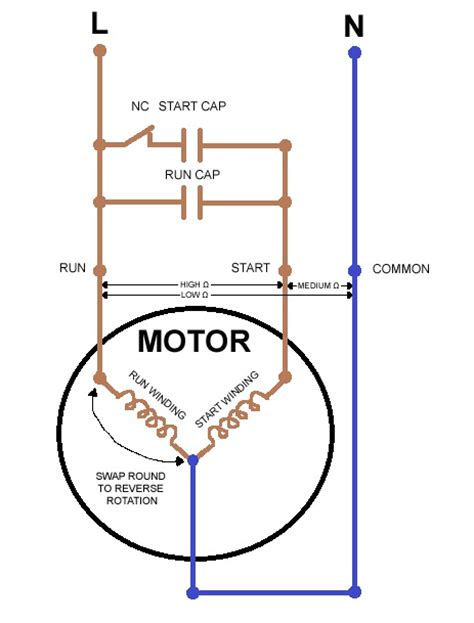 wiring diagram i feel right to make capacitor start motor