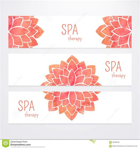 banner design for yoga vector templates of banners with watercolor red lotus
