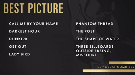 List Of Oscar Best Picture here are the 2018 oscar nominations complete list