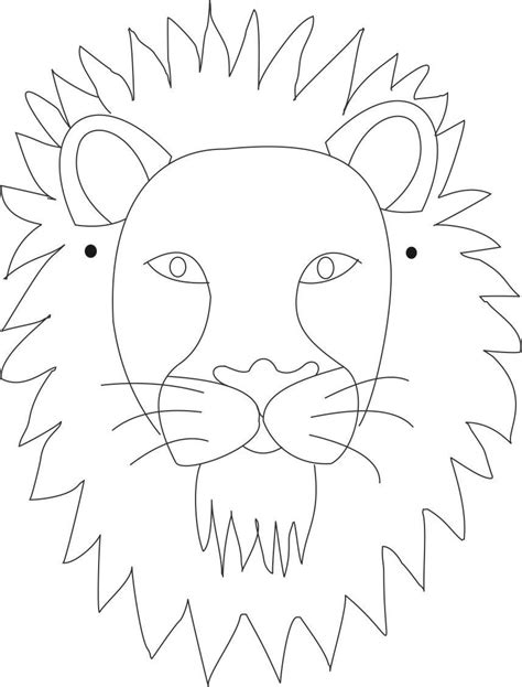 lion mask printable coloring page for kids