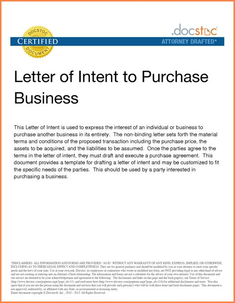 letter of intent to purchase a business template 6 letter of intent to purchase business template