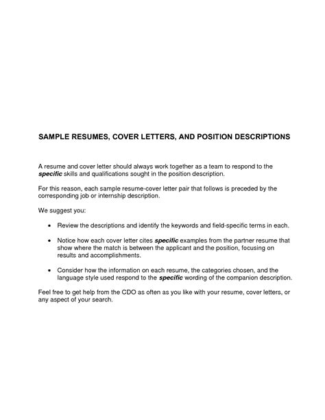 cover letter for a resume exle basic cover letter for a resume