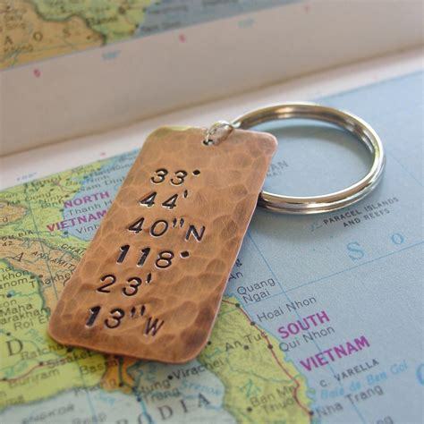 Longitude Latitude Keychain Custom Hand Stamped Location
