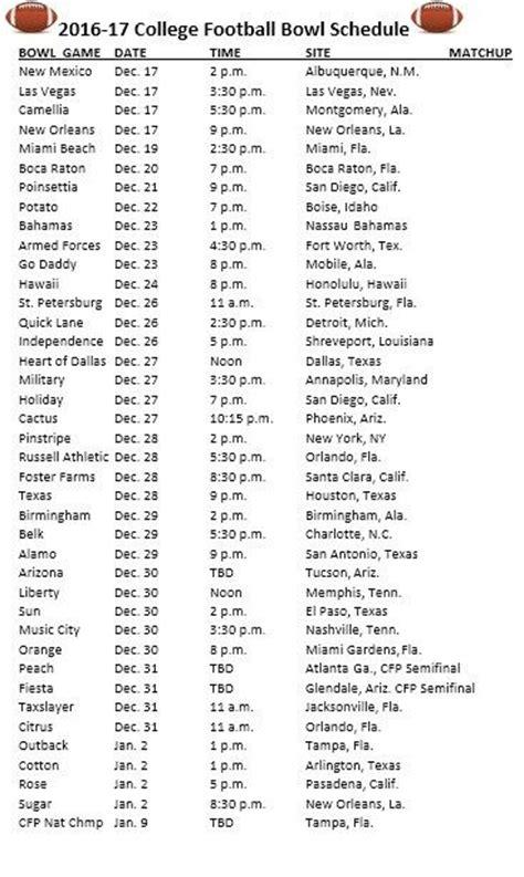 2017 Bowl Schedule Printable