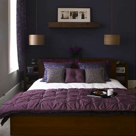 Dark Purple Bedroom | purple bed cover classic pendant l dark blue paint