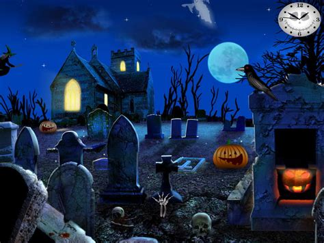 free animated halloween wallpapers for windows 7 graveyard party free halloween screensavers