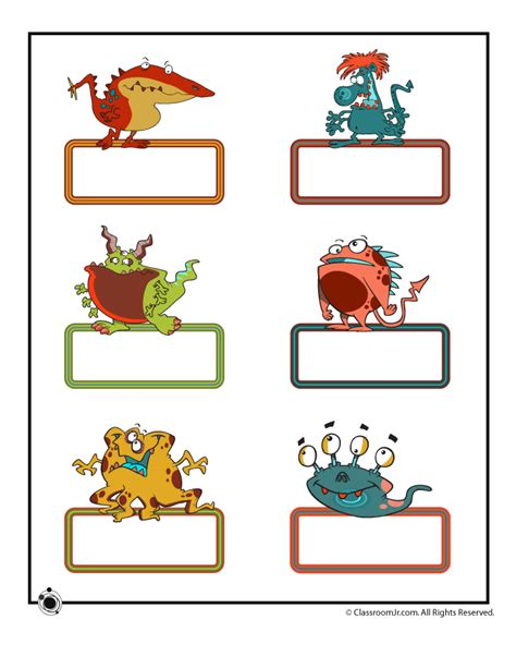 printable bulletin board name cards small cute monsters