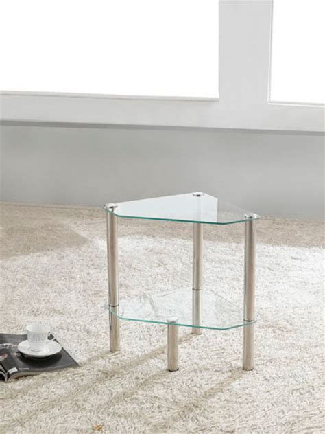 Bathroom Table Stand by 2 Tier Triangle Glass Stand Coffee Table Bathroom Clear