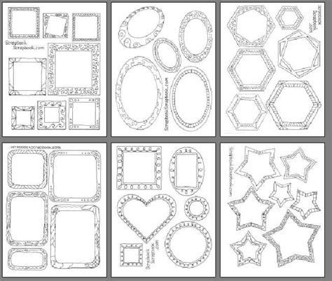 Printable Shapes For Scrapbooking | printable black line drawings casual scrapbook frames for