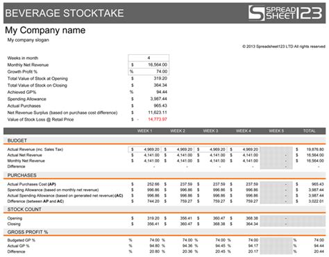 beverage stocktake template for excel