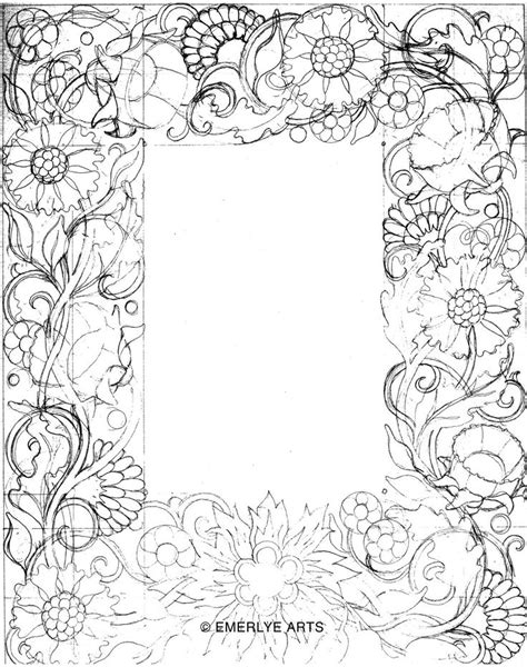 coloring pages of flower borders doodled border pencil play pinterest sketches of