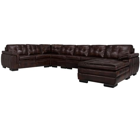 Oversized Leather Sectional With Chaise City Furniture Trevor Brown Leather Large Right