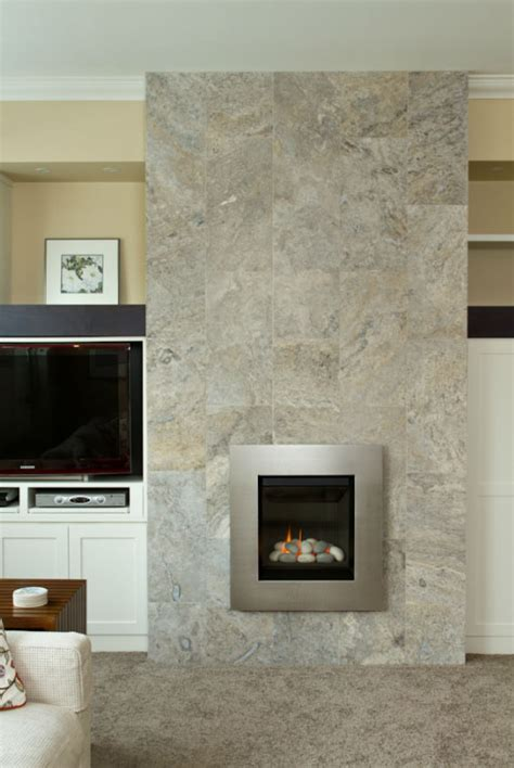 silver travertine fireplace install sale tile and