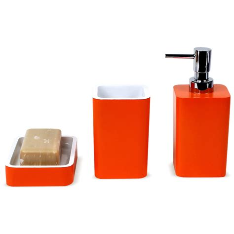 Bathroom Accessories Orange District17 Arianna 3 Bathroom Accessory Set In Orange Bathroom Accessories