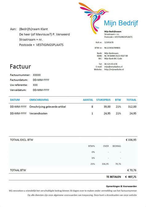 standaard layout zakelijke brief factuur voorbeeld download gratis factuur in word
