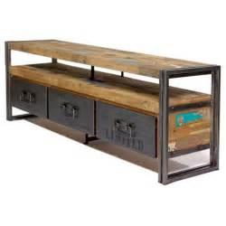 meuble tv industriel fer et bois recycl 233 factory