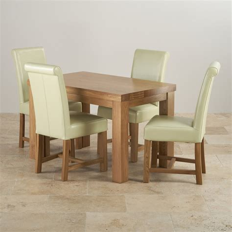 Oak Dining Table And Leather Chairs Fresco 4ft Solid Oak Dining Table 4 Leather Braced Chairs