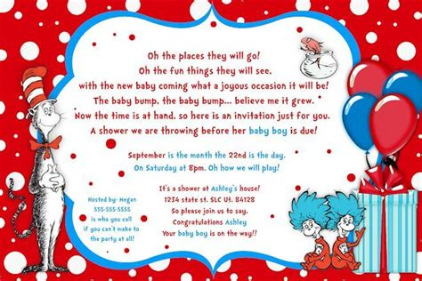 Cat Themed Wedding Invites by Printable Customized Dr Seuss Baby Shower Invitations