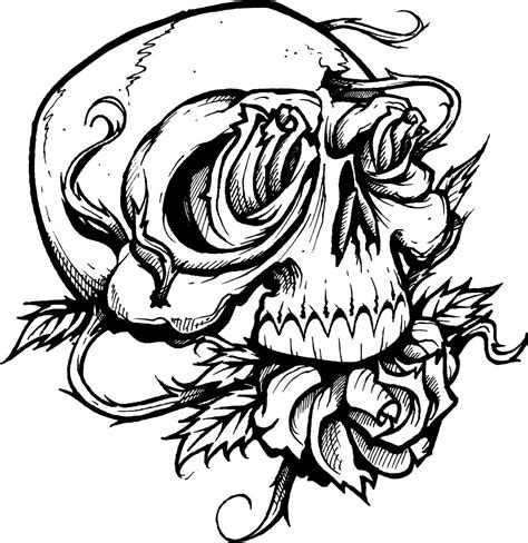 Tattoo Coloring Pages Rose And Skull Coloringstar Princess Skull Tattoos Free Coloring Sheets