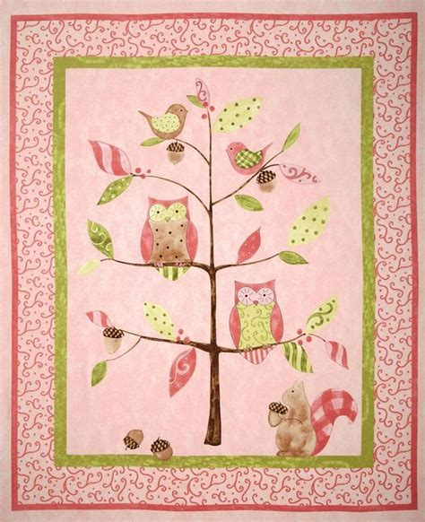 owl tree nursery quilt cot panel baby patchwork quilts