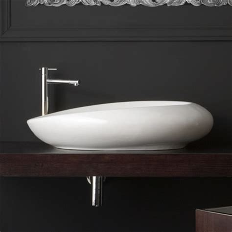 Modern Oval Bathroom Sinks Unique Modern Oval White Ceramic Vessel Sink By Scarabeo