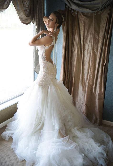 glamorous pearls mermaid wedding dress 2016 tulle