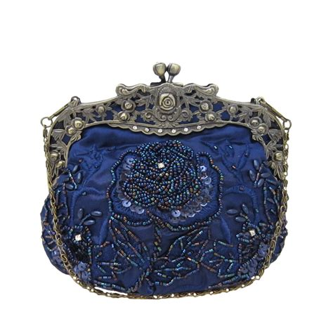 vintage beaded handbags vintage style beaded handbag navy blue