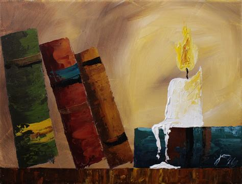 painting book books by candlelight step by step acrylic painting on