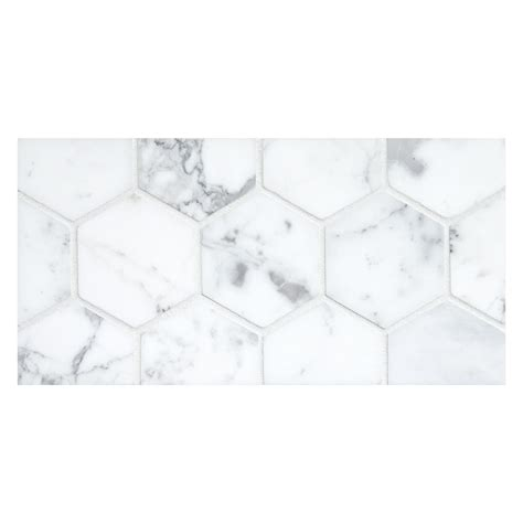 hexagon 3 quot mosaic tile honed statuary marble
