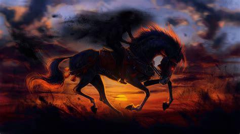 wallpaper horse evil sunset hd creative graphics