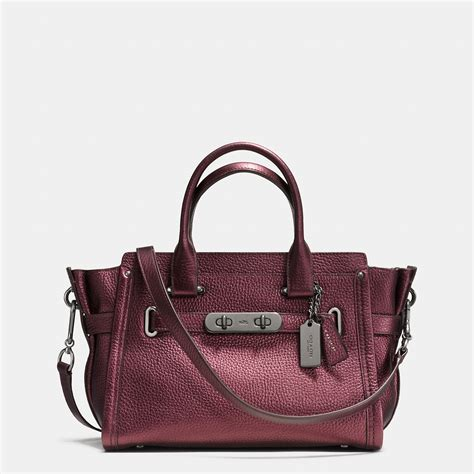 Coach Swagger 27 In Pabble Leather coach swagger 27 in metallic pebble leather in black
