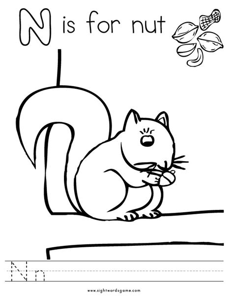 n words coloring page letter n words coloring pages