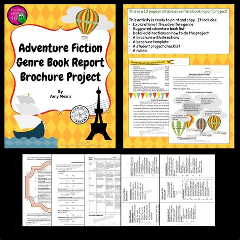 6th grade book report rubric adventure genre brochure book report i teach a genre