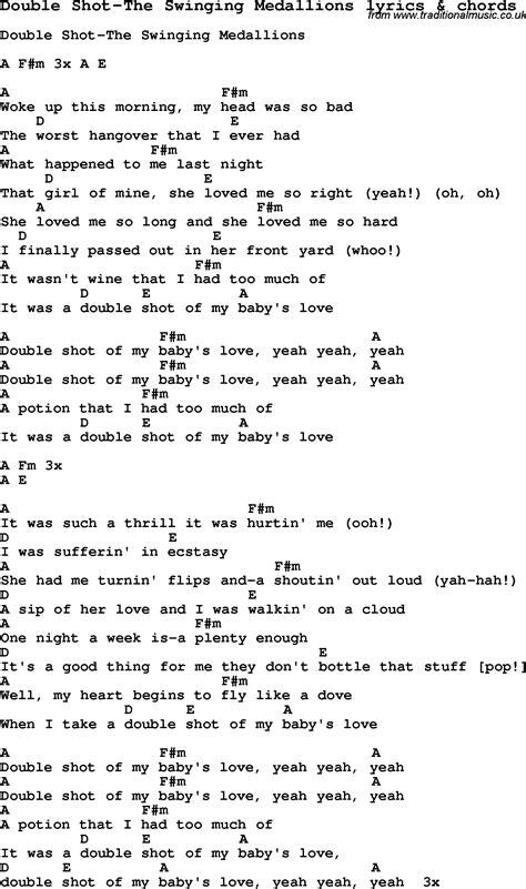 swinging song lyrics love song lyrics for double shot the swinging medallions