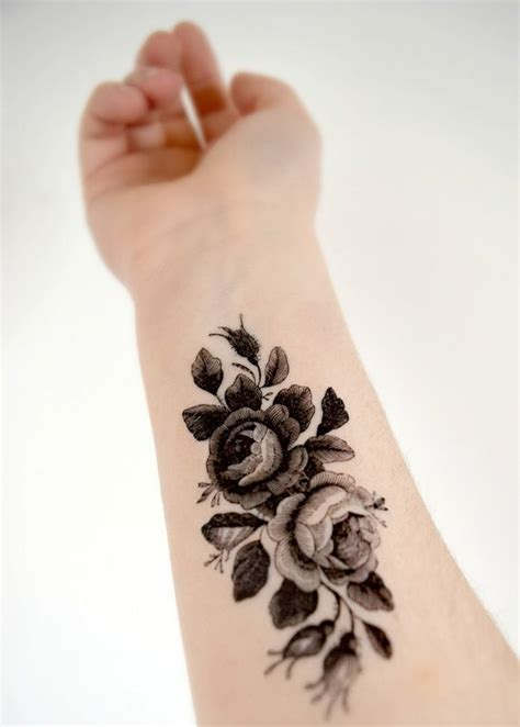 large vintage floral temporary tattoo black and white
