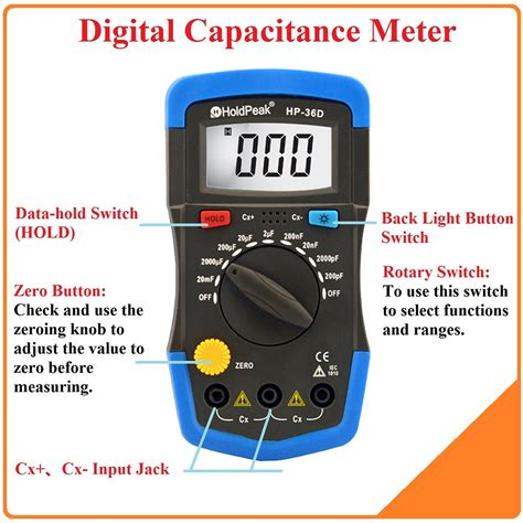 Multimeter Mini holdpeak mini multimeter lcd digital capacitance meter