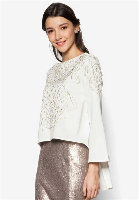 Baju Floral Blouse 1 embroidered swing top from zalia in white 1 baju kurung swing top swings and